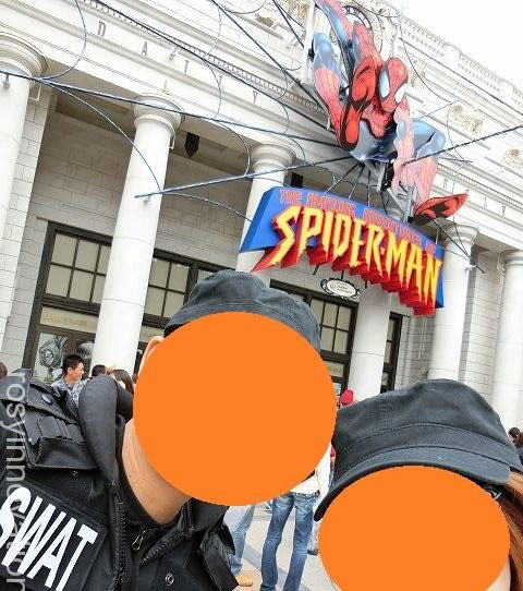 スパイダーマン 写真撮影