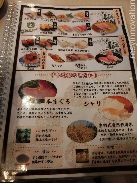すし遊館3 寿司の種類