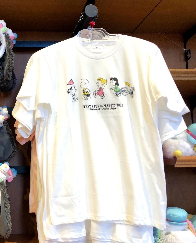 USJスヌーピーグッズ春夏の再販 WHAT A FUN PEANUTS TOUR (35)白地Tシャツ