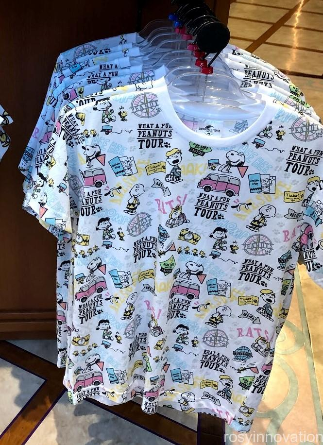USJスヌーピーグッズ春夏の再販 WHAT A FUN PEANUTS TOUR (20)総柄Tシャツ