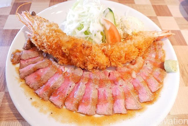 レストランまつもと (13)大エビフライとビーフステーキ