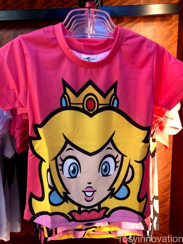 USJpワンナップマリオグッズ ファッションTシャツフェイスピーチ姫表