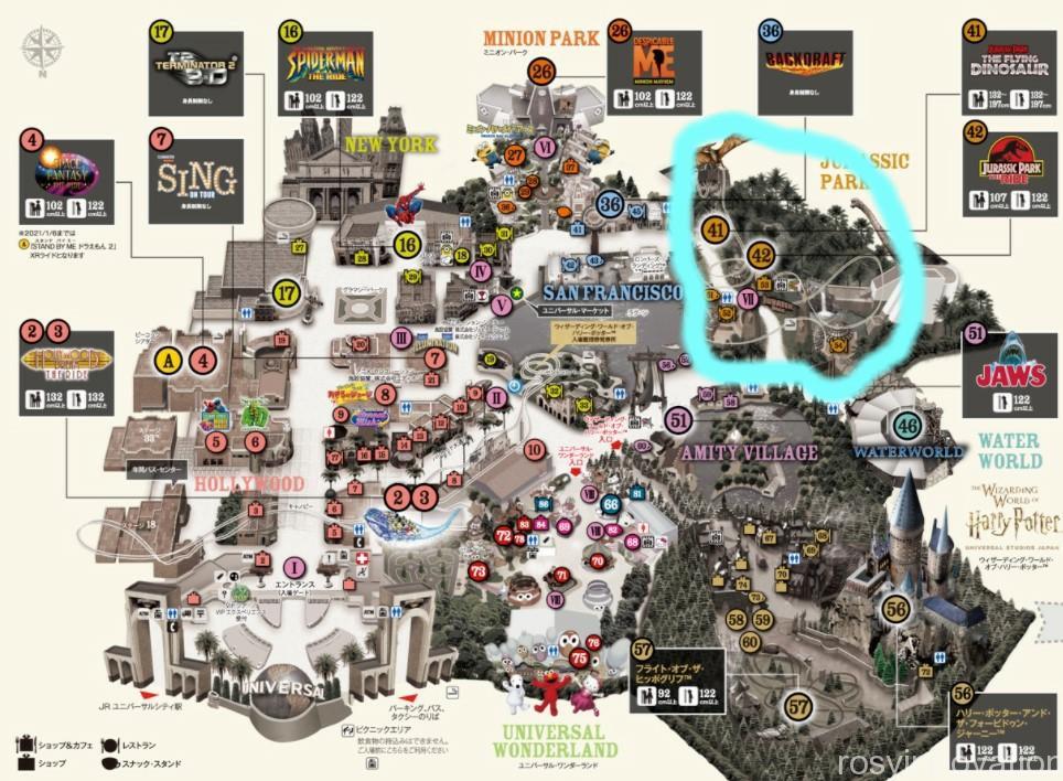 USJエリアマップ2021 ジュラシックパーク