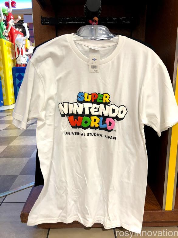 USJワンナップマリオグッズ ファッションTシャツロゴ白