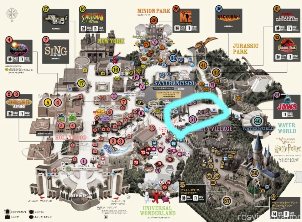 USJエリアマップ2021 アミティビレッジ